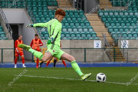 Wale's U18 Max Williams (1) takes a goal kick during the international friendly match between U18 Wales and U18 England at Leckwith Stadium, Cardiff