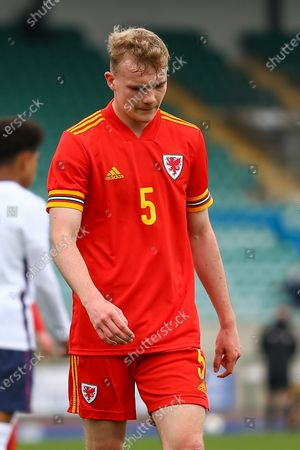 Wale's U18 Taylor Jones (5) in action during the international friendly match between U18 Wales and U18 England at Leckwith Stadium, Cardiff
