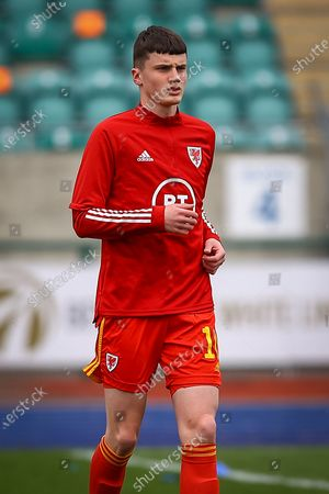 Wale's U18 Joel Cotterill (10) during the pre-match warm-up before the international friendly match between U18 Wales and U18 England at Leckwith Stadium, Cardiff