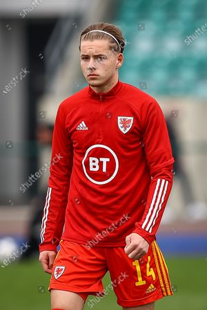 Wale's U18 Harry Leeson (14) during the pre-match warm-up before the international friendly match between U18 Wales and U18 England at Leckwith Stadium, Cardiff