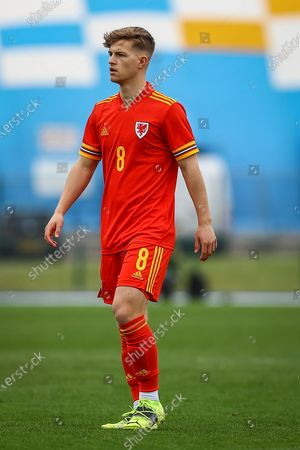 Stock Photo of Wale's U18 Oliver Ewing (8) in action during the international friendly match between U18 Wales and U18 England at Leckwith Stadium, Cardiff