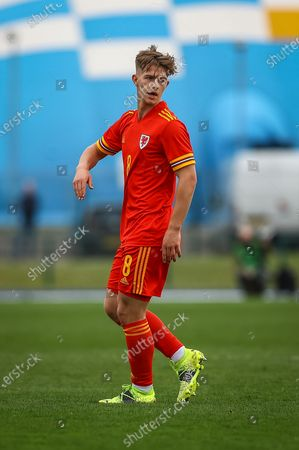 Wale's U18 Oliver Ewing (8) during the international friendly match between U18 Wales and U18 England at Leckwith Stadium, Cardiff