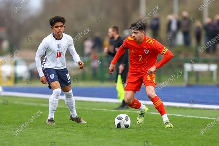 Stock Picture of Wale's U18 Keelan Williams (2) in action during the international friendly match between U18 Wales and U18 England at Leckwith Stadium, Cardiff