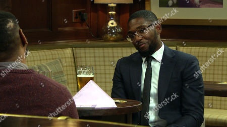 Emmerdale - Ep 9014 Tuesday 6th April 2021 Andrea asks Charles Anderson, as played by Kevin Mathurin, out for a drink. He turns her down but when Ethan Anderson, as played by Emile John, encourages him he asks her to have that drink.