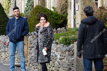 Emmerdale - Ep 9018 Friday 9th April 2021 Faith Dingle, as played by Sally Dexter, starts to make the best of all her opportunities presented, could she turn things around? Also pictured - Nate Robinson, as played by Jurell Carter ; Cain Dingle, as played by Jeff Hordley.