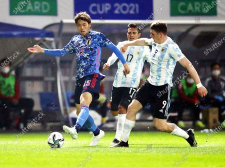 Adolfo Gaich (R) of Argentina in action against Koki Machida (L) of Japan during the U-24 international friendly soccer match between Japan and Argentina at Kitakyushu Stadium in Fukuoka, south-western Japan, 29 March 2021.