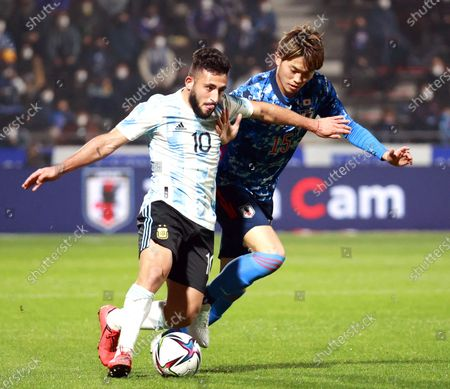 Matias Vargas (L) of Argentina in action against Koki Machida (R) of Japan during the U-24 international friendly soccer match between Japan and Argentina at Kitakyushu Stadium in Fukuoka, south-western Japan, 29 March 2021.