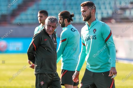 Portugal's head coach Fernando Santos (L) leads his team's training session at Josy Barthel Stadium in Luxembourg, 29 March 2021. Portugal will face Luxembourg in their FIFA World Cup 2022 qualifying soccer match on 30 March 2021.