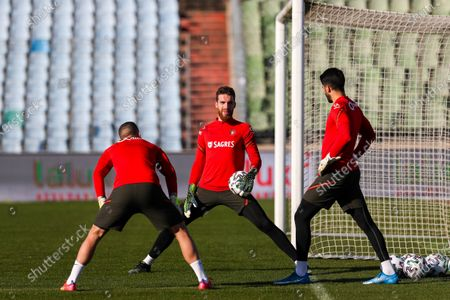 Stock Picture of Portugal goalkeepers (L-R) Anthony Lopes, Jose Sa, and Rui Silva attend their team's training session at Josy Barthel Stadium in Luxembourg, 29 March 2021. Portugal will face Luxembourg in their FIFA World Cup 2022 qualifying soccer match on 30 March 2021.