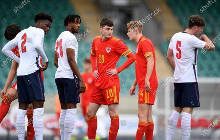 Daniel Oyegoke, James Balagizi and William Fish of England with Joel Cotterill and Harry Jones of Wales.