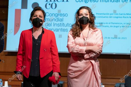 Carmen Linares and Marina Heredia attend the presentation of the World Flamenco Congress at the Instituto Cervantes in Madrid. March 29, 2021 Spain