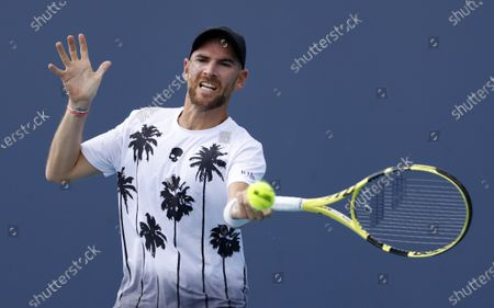 Adrian Mannarino of France in action against  Diego Schwartzman of Argentina during their Men's singles match at the Miami Open tennis tournament in Miami Gardens, Florida, USA, 29 March 2021.
