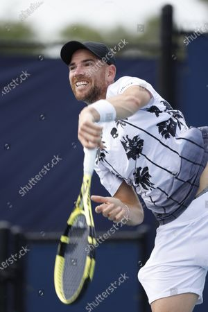 Stock Picture of Adrian Mannarino of France in action against  Diego Schwartzman of Argentina during their Men's singles match at the Miami Open tennis tournament in Miami Gardens, Florida, USA, 29 March 2021.