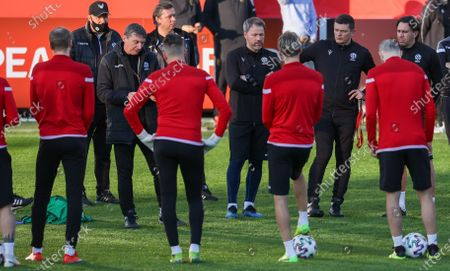 Belarus' coach Mikhail Markhel pictured during a training session of the Belarus national soccer team, Monday 29 March 2021 in Leuven. The team is preparing for a World Cup 2022 qualification match against Belgian national team the Red Devils tomorrow.