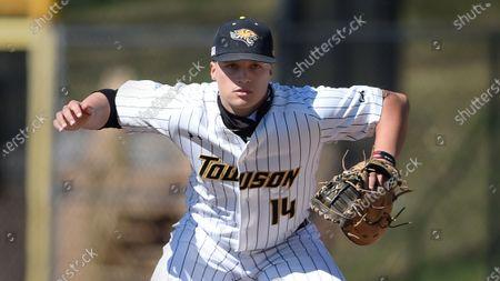 Towson first baseman Nick Brown during an NCAA baseball game, in Towson, Md