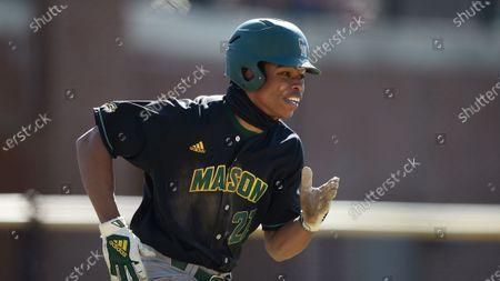 George Mason's Jordan Smith during an NCAA baseball game, in Towson, Md