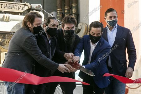 Gareth Edwards, Jordan Vogt-Roberts, Adam Wingard, Michael Dougherty, and CEO of Legendary Entertainment Joshua Grode cut the red ribbon during the post-pandemic reopening and ribbon cutting ceremony hosted by TCL Chinese Theatre in Hollywood, California, USA, 29 March 2021.