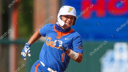 Florida infielder Hannah Adams (1) rounds third during an NCAA softball game against LSU on in Gainesville, Fla