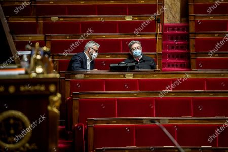 Stock Picture of Alexis Corbiere and Jea-Luc Melenchon