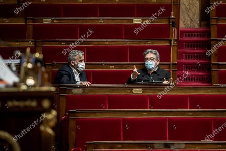 Stock Photo of Alexis Corbiere and Jea-Luc Melenchon