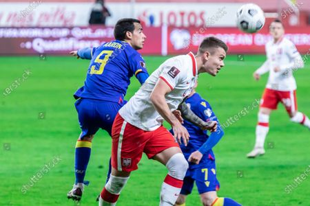 Aaron Sanchez of Andorra and Kamil Piatkowski of Poland in action during the FIFA World Cup 2022 Qatar qualifying match between Poland and Andorra at Marshal Jozef Pilsudski Legia Warsaw Municipal Stadium.  (Final score; Poland 3:0 Andorra)