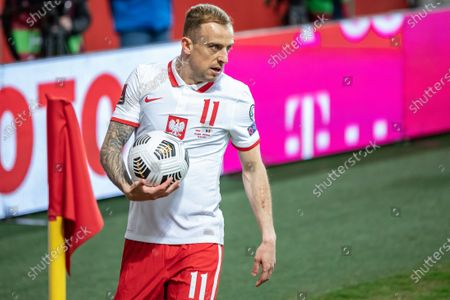 Kamil Grosicki of Poland in action during the FIFA World Cup 2022 Qatar qualifying match between Poland and Andorra at Marshal Jozef Pilsudski Legia Warsaw Municipal Stadium.  (Final score; Poland 3:0 Andorra)
