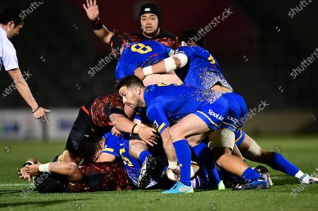 Stock Photo of NTT Communications' Greig Laidlaw during the Japan Rugby Top League 2021 match between Toshiba Brave Lupus and NTT Communications Shining Arcs at the Prince Chichibu stadium in Tokyo.
