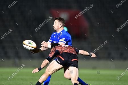 NTT Communications' Greig Laidlaw during the Japan Rugby Top League 2021 match between Toshiba Brave Lupus and NTT Communications Shining Arcs at the Prince Chichibu stadium in Tokyo.