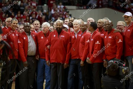 Stock Picture of Former IU basketball player Mike Woodson (42) stands to the right of former Indiana University basketball coach Bob Knight, who took the Indiana Hoosiers to three NCAA national titles. Bob Knight returned to Assembly Hall for his first public appearance there since he was fired, Saturday, February 8, 2020 in Bloomington. Mike Woodson was named as the new IU basketball coach this Monday,  29th Mar.