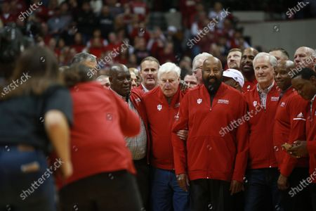 Stock Image of Former IU basketball player Mike Woodson (42) stands to the right of former Indiana University basketball coach Bob Knight, who took the Indiana Hoosiers to three NCAA national titles. Bob Knight returned to Assembly Hall for his first public appearance there since he was fired, Saturday, February 8, 2020 in Bloomington. Mike Woodson was named as the new IU basketball coach this Monday,  29th Mar.