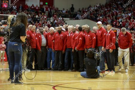 Former IU basketball player Mike Woodson (42) stands to the right of former Indiana University basketball coach Bob Knight, who took the Indiana Hoosiers to three NCAA national titles. Bob Knight returned to Assembly Hall for his first public appearance there since he was fired, Saturday, February 8, 2020 in Bloomington. Mike Woodson was named as the new IU basketball coach this Monday,  29th Mar.