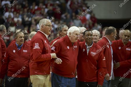 Welcome remarks from fans as NCAA basketball coach Bob Knight, who took the Indiana Hoosiers to three NCAA national titles, returns to Assembly Hall, Saturday, February 8, 2020 in Bloomington. Bob Knight coached the Hoosiers to NCAA basketball championships in 1976, 1981, and 1987.