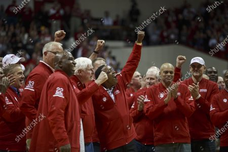 Stock Photo of Welcome remarks from fans as NCAA basketball coach Bob Knight, who took the Indiana Hoosiers to three NCAA national titles, returns to Assembly Hall, Saturday, February 8, 2020 in Bloomington. Bob Knight coached the Hoosiers to NCAA basketball championships in 1976, 1981, and 1987.