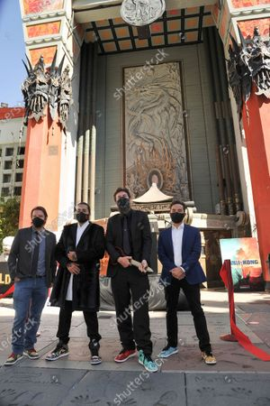 Gareth Edwards, from left, Jordan Vogt-Roberts, Adam Wingard and Michael Dougherty attend a ceremony celebrating the re-opening of the TCL Chinese Theatre in Los Angeles, following its closure due to the Covid pandemic