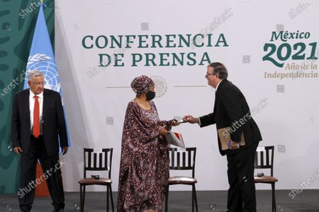 President of Mexico Andres Manuel Lopez Obrador, Phumzile Mlambo-Ngcuka, Executive Director of UN Women and Mexico's Foreign Affairs Minister, Marcelo Ebrard  during a press conference as part of the inauguration of the Equality Generation Forum at National Palaceon March 29, 2021 in Mexico City, Mexico