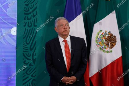 Mexico's President Andres Manuel Lopez Obrador  during a press conference as part of the inauguration of the Equality Generation Forum at National Palaceon March 29, 2021 in Mexico City, Mexico