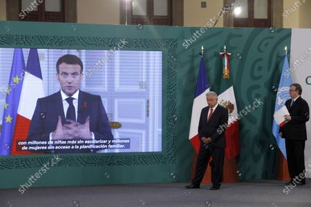 Mexico's President Andres Manuel Lopez Obrador holds a virtual meeting with  the President of France, Emmanuel Macron during a press conference as part of the inauguration of the Equality Generation Forum at National Palace on March 29, 2021 in Mexico City, Mexico.