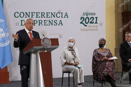 Mexico's President Andres Manuel Lopez Obrador speaks next to  Phumzile Mlambo-Ngcuka, Executive Director of UN Women and Olga Sanchez Cordero, Mexico's Secretary of the Interior, during a press conference as part of the inauguration of the Equality Generation Forum at National Palaceon March 29, 2021 in Mexico City, Mexico.