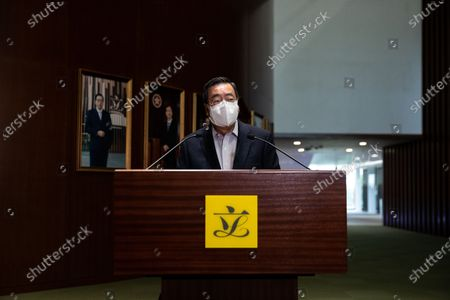 Hong Kong Legislative Council President Andrew Leung talks to members of the media at the Legislative Council in Hong Kong, China, 30 March 2021. Leung announced that the Legislative Council general election will be held in December 2021, over a year after they were postponed by the government and after China's Standing Committee of the National People's Congress, (NPCSC) approved major changes to the city's electoral system, which will reduce the number of seats in the legislature democratically elected by the public.