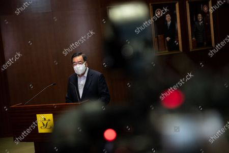 Stock Image of Hong Kong Legislative Council President Andrew Leung talks to members of the media at the Legislative Council in Hong Kong, China, 30 March 2021. Leung announced that the Legislative Council general election will be held in December 2021, over a year after they were postponed by the government and after China's Standing Committee of the National People's Congress, (NPCSC) approved major changes to the city's electoral system, which will reduce the number of seats in the legislature democratically elected by the public.