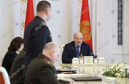 Belarusian President Alexander Lukashenko attends a meeting on the state of the socio-political situation in the country, Minsk, Belarus