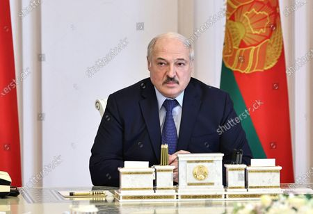 Stock Picture of Belarusian President Alexander Lukashenko attends a meeting on the state of the socio-political situation in the country, Minsk, Belarus