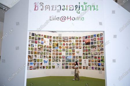 Stock Photo of People visit the 'Life @ Home' Royal photo exhibition at the BACC (Bangkok Arts and Culture Center) in Bangkok, Thailand, 30 March 2021. The Royal exhibit showcases photographs taken by Thai Princess Maha Chakri Sirindhorn, mostly focusing on daily life, nature and animals. The exhibition runs until 18 April 2021.