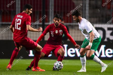 Hasan Alhaydos and Tarek Salman of Qatar and Shane Long of Republic of Ireland