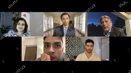 Stock Picture of Riz Ahmed - Sound of Metal, Mads Mikkelsen - Another Round, Adarsh Gourav - The White Tiger and Tahar Rahim - The Mauritanian with host Mariayah Kaderbhai