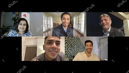 Stock Image of Riz Ahmed - Sound of Metal, Mads Mikkelsen - Another Round, Adarsh Gourav - The White Tiger and Tahar Rahim - The Mauritanian with host Mariayah Kaderbhai