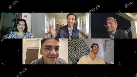 Stock Photo of Riz Ahmed - Sound of Metal, Mads Mikkelsen - Another Round, Adarsh Gourav - The White Tiger and Tahar Rahim - The Mauritanian with host Mariayah Kaderbhai