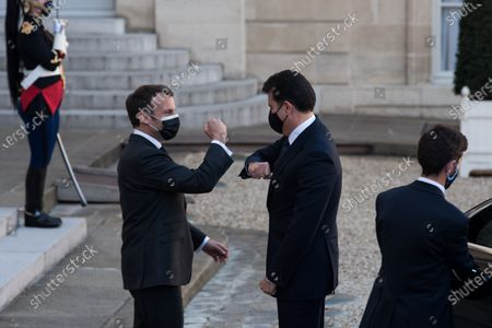 President of the French Republic Emmanuel Macron welcomes President of the Autonomous Region of Iraqi Kurdistan Nerchirvan Barzani at the Elysee Palace for a working lunch, in Paris, on March 30, 2021.