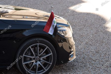 The official car of Nerchirvan Barzani, the President of the Autonomous Region of Iraqi Kurdistan, in the inner courtyard of the Elysée Palace, in Paris, on March 30, 2021.