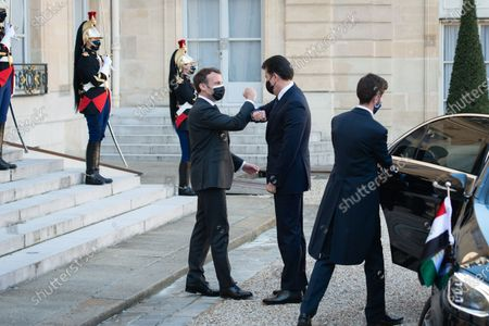 Stock Image of The President of the French Republic Emmanuel Macron received Nechirvan Barzani, President of the Regional Government of Iraqi Kurdistan for a working lunch at the Elysee Palace.